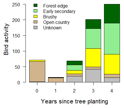 Multiyear trends in site-scale Activity for four habitat following tree planting in a forest restoration in the Mamoní Valley, Panama.