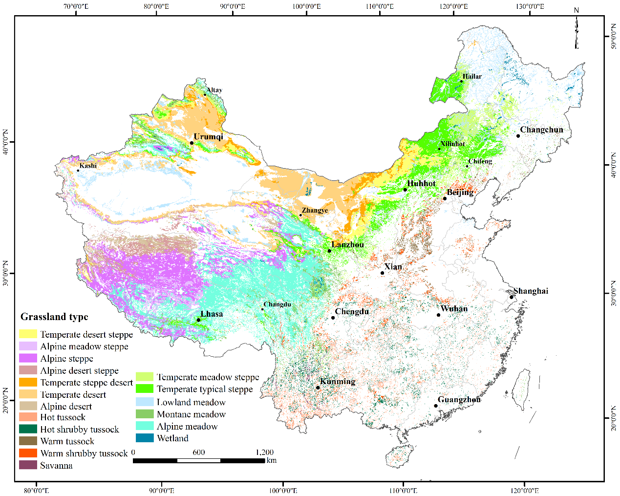 Map of China's grassland types (adapted from RRC)